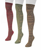 Muk Luks 3-Pair Multicolor Microfiber Over The Knee Boot Socks