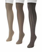 Muk Luks 3-Pair Brown Over The Knee Textured Boot Socks