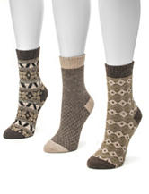 Muk Luks 3-Pair Brown Multicolor Holiday Crew Socks