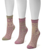 Muk Luks 3-Pair Pastel Multicolor Holiday Crew Socks