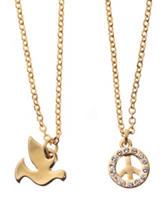 Fine Gold Plated Brass 2-pc. Dove & Peace Sign Necklace Set
