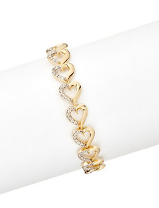 18K Gold Plated Diamond Accent Heart Bracelet