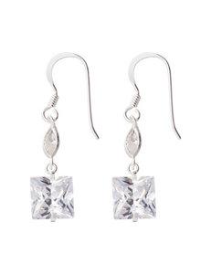 Marsala White / Silver Drops Earrings Fine Jewelry