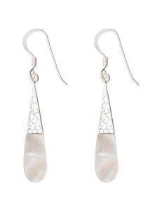 Marsala Silver / White Drops Earrings Fine Jewelry