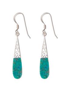 Sterling Silver Opaque Turquoise Filigree Teardrop Earrings