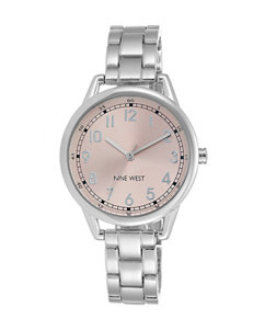 Nine West Ladies Blush Dial Silver-Tone Link Band Watch