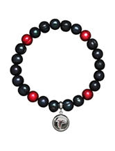 Atlanta Falcons Stainless Steel Pearl Stretch Bracelet