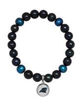 Carolina Panthers Stainless Steel Pearl Stretch Bracelet