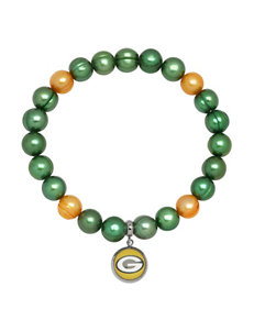 Green Bay Packers Stainless Steel Pearl Stretch Bracelet