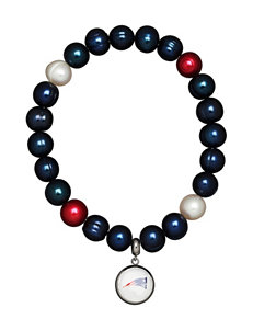 New England Patriots Stainless Steel Pearl Stretch Bracelet