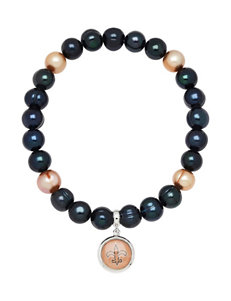New Orleans Saints Stainless Steel Pearl Stretch Bracelet