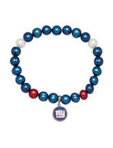 New York Giants Stainless Steel Pearl Stretch Bracelet