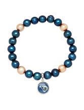St. Louis Rams Stainless Steel Pearl Stretch Bracelet
