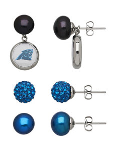 Aurafin Oro America Blue / Black Studs Earrings NFL
