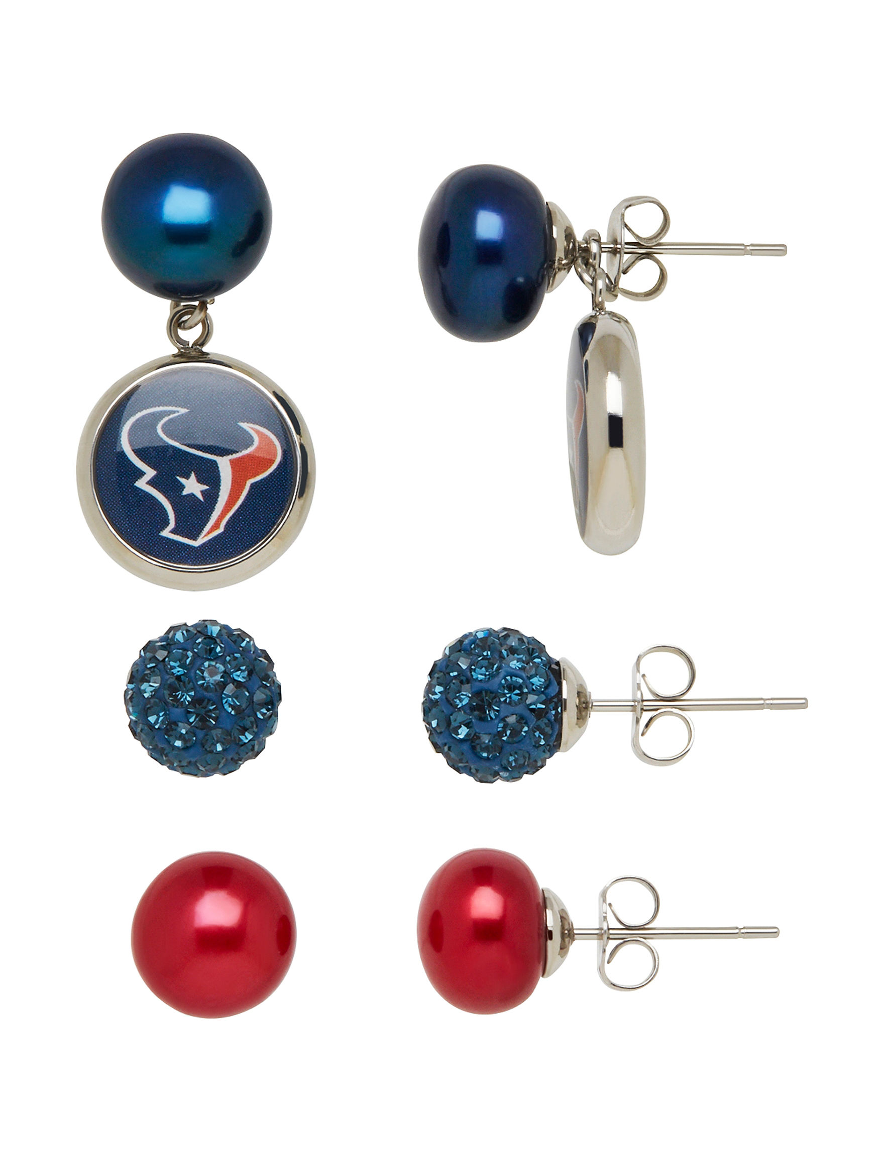 Aurafin Oro America Blue/ Red Studs Earrings Fashion Jewelry Fine Jewelry NFL