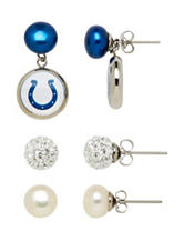 Indianapolis Colts 3-Pair Pearl & Crystal Earrings