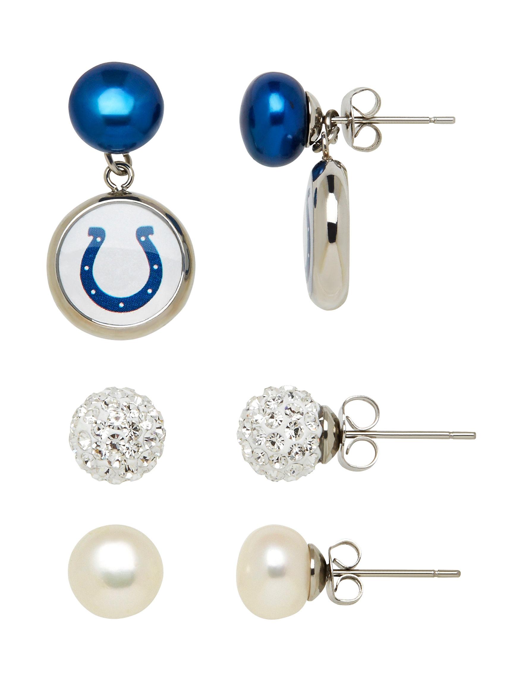 Aurafin Oro America White / Blue Studs Earrings Fashion Jewelry Fine Jewelry NFL