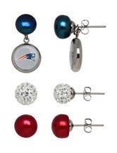 New England Patriots 3-Pair Pearl & Crystal Earrings