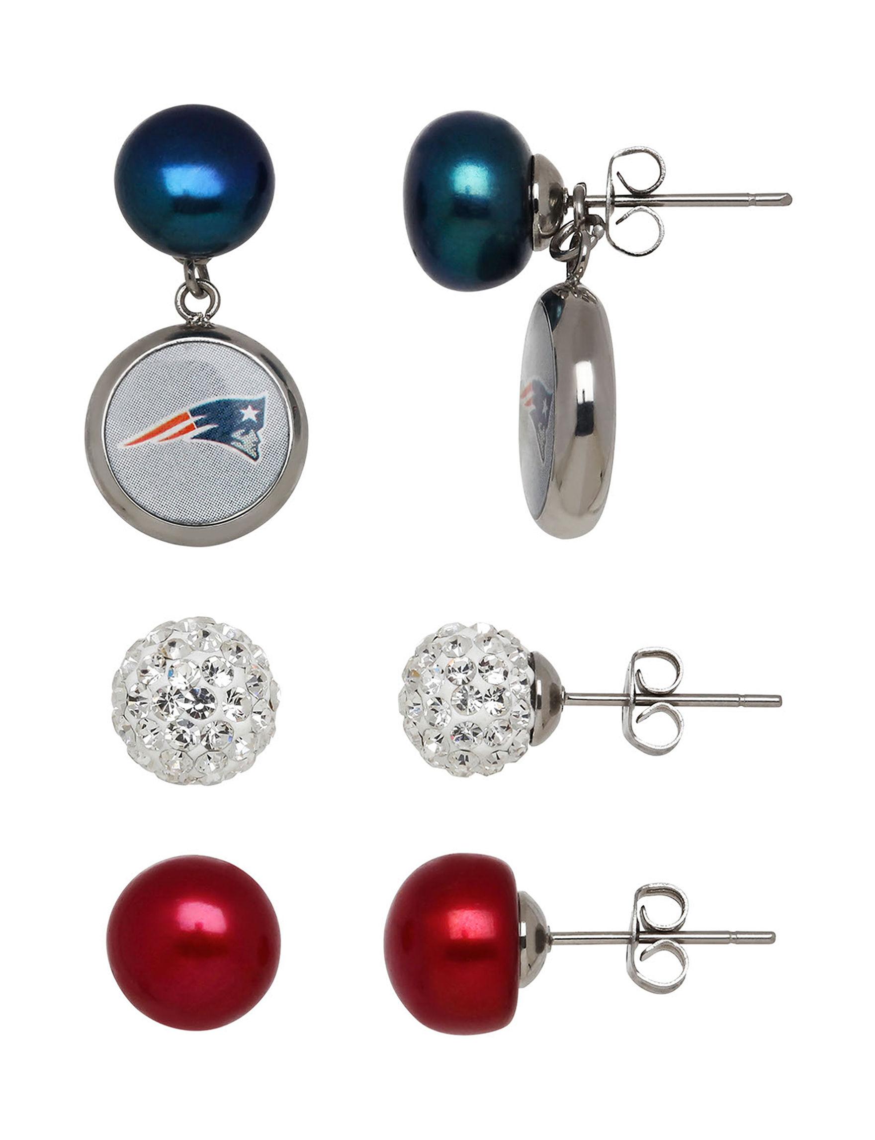Aurafin Oro America Red Studs Earrings Fine Jewelry