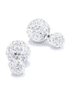 Athra White / Silver Studs Earrings Fine Jewelry