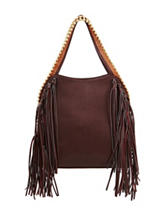 Big Buddha Grayele Fringed Hobo Handbag