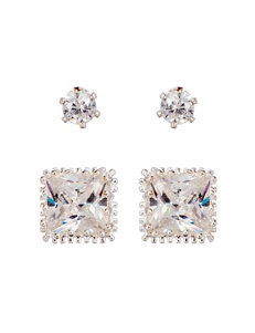 City by City White / Silver Studs Earrings Fashion Jewelry