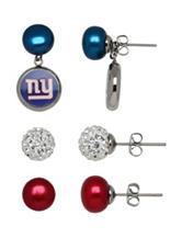 New York Giants 3-Pair Pearl & Crystal Earrings