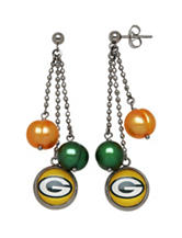 Green Bay Packers Pearl Chain Drop Earrings