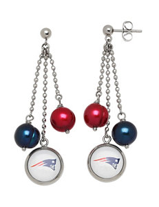 Aurafin Oro America Blue/ Red Drops Earrings NFL