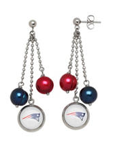 New England Patriots Pearl Chain Drop Earrings
