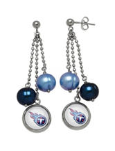 Tennessee Titans Pearl Chain Drop Earrings