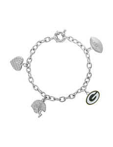 Green Bay Packers Fine Silver Plated Crystal Charm Bracelet