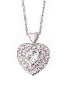 Sterling Silver 2.5 CT. T.W. Lab Created White Sapphire Heart Necklace