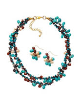 Hannah Multicolor Macrame Glass Beaded Necklace & Earrings Set