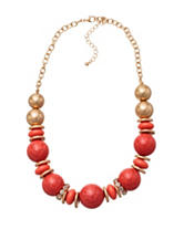 Hannah Coral Rhinestone Beaded Necklace