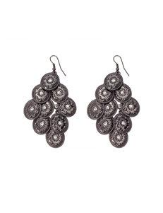 Hannah Gunmetal & Rhinestones Chandelier Earrings