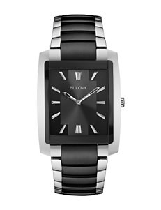 Bulova Black Plated Stainless Steel Bracelet Watch