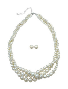 Designs by FMC Pearl Torsade Necklace & Earrings Set