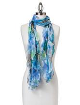 Basha Blue Floral Print Oblong Scarf