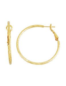 5th & Luxe 14K Gold-Tone Diamond Cut Twisted Hoop Earrings