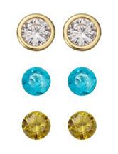 Silver Plated 4-pc. Changable Stud Earrings