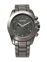 Unlisted Ladies Diamond Accent Gunmetal Bracelet Watch