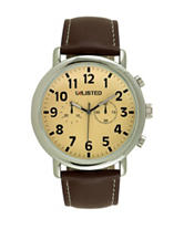Unlisted Men's Silver Dial Brown Strap Watch