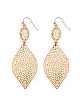 Signature Studio Gold-Tone Perforated Drop Earrings