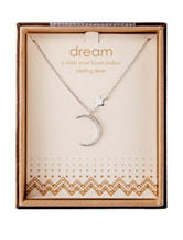 NES Sterling Silver Moon & Star Crystal Pendant Necklace