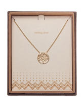 NES Gold-Plated Tree Of Life Crystal Pendant Necklace