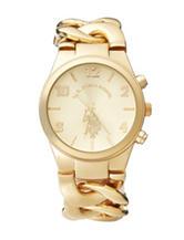 U.S. Polo Assn. Gold-Tone Chain Link Watch