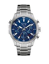 Bulova Marine Star Blue Dial Silver-Tone Bracelet Watch