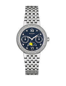 Bulova Moon Phase Diamond Accent Silver-Tone Bracelet Watch