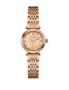 Bulova Tonal Mother of Pearl Dial Rose Gold-Tone Bracelet Watch